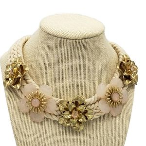 Braided Rope Pink Flower Collar Necklace